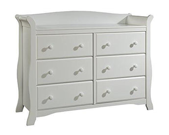 Stork Craft Avalon 6 Drawer Universal Dresser, White