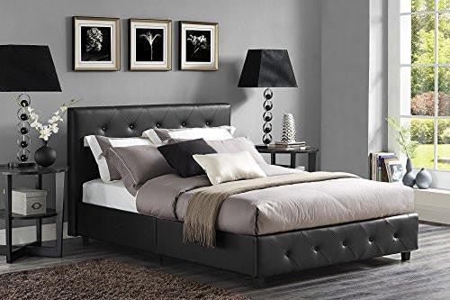 DHP Dakota Faux Leather Upholstered Platform Bed Black