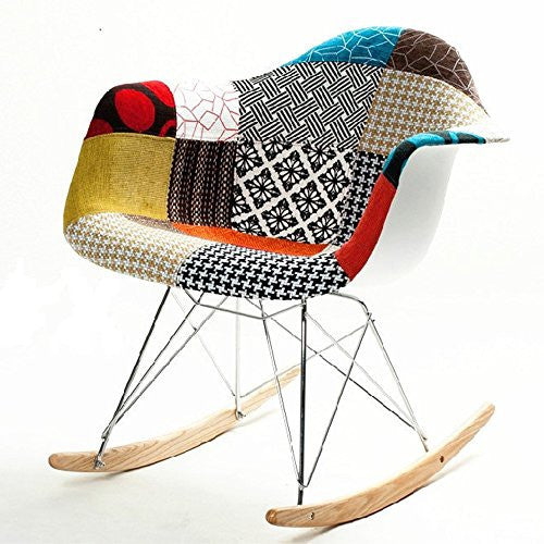 Fine Mod Imports colored Patterned Rocker Arm Chair