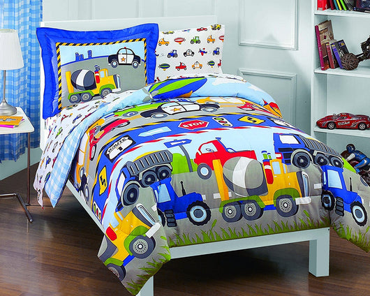 5 pc comforter twin set Trucks Tractors Cars Boys