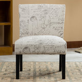Roundhill Furniture Botticelli English Letter Print Accent Chair