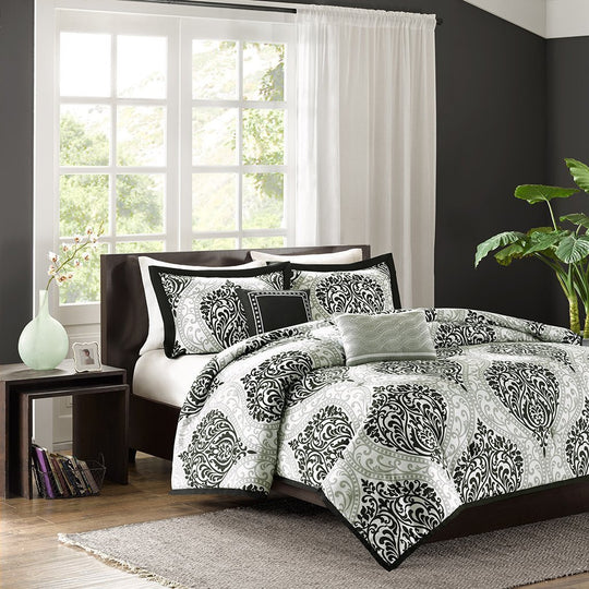 Comforter Set Senna 5 Piece Full/Queen Black pillows