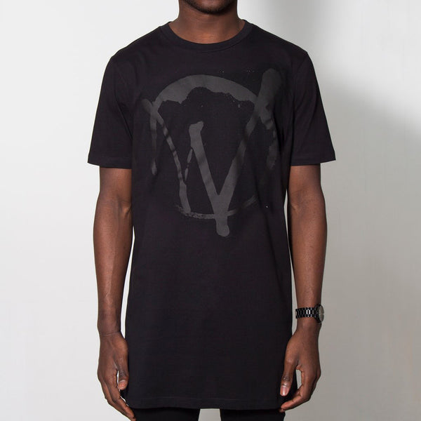Warriors Longline Black On Black T-shirt