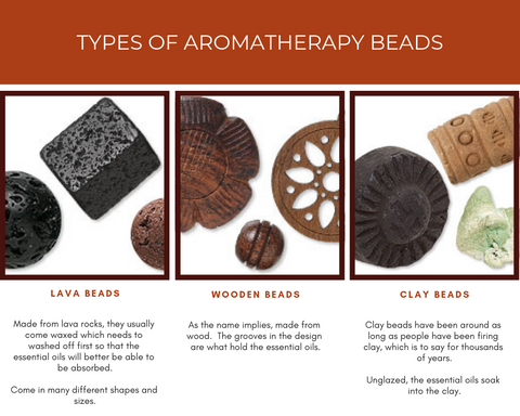 Aromatherapy Beads, lava, clay, wood