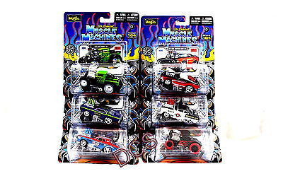 Maisto Muscle Machines New 2012 Set Of 6, Chevy,33 Ford Red Flames,Plymouth 1/64