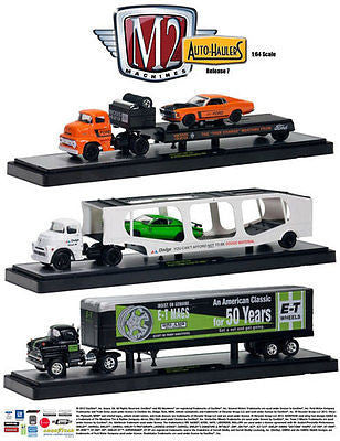 M2 Auto Set Of 3 Haulers Dodge,Chevrolet,Ford Release 7 1/64 Diecast Car New