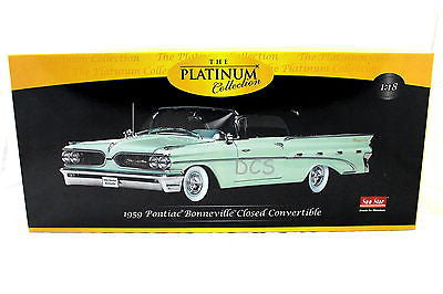 Sunstar 1959 Platinum Pontiac Bonneville Closed Convertible Green 1/18 Ss5192