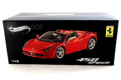 Ferrari 458 Spider Red Hot Wheels Elite 1/43 Diecast Car W1182