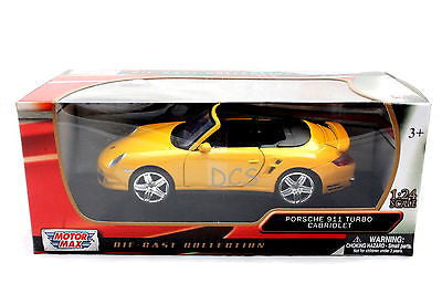 Motormax Porsche 911 Turbo Cabriolet Yellow 1/24 Diecast Car 73348yl