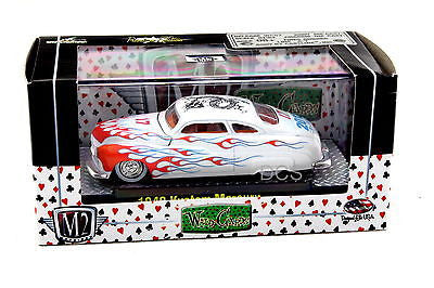 M2 Machines 1949 Kustom Mercury White Wild Cards 1/64 Diecast Car