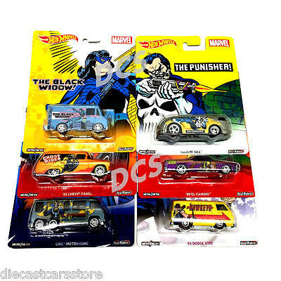 2016 Hot Wheels 1:64 Pop Cultures Marvels C Set Of 6 New Dlb45-956c