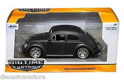 1959 Volkswagen Beetle Satin Gray With 5 Spoke Wheels 1/24 Car By Jada 97490