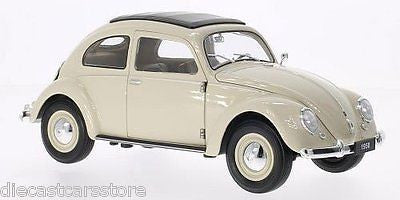 Welly 1950 Volkswagen Classic Beetle White Cream 1/18 Diecast Car 18040w-Wh