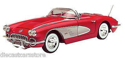 Motormax 1958 Chevrolet Corvette Convertible Red 1/18 Diecast Cars 73109ac-Rd
