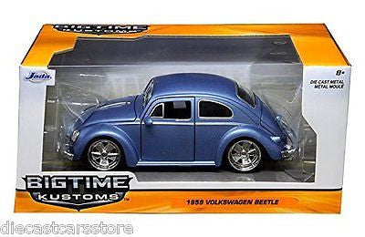 1959 Volkswagen Beetle Satin Blue With 5 Spoke Wheels 1/24 By Jada 97489