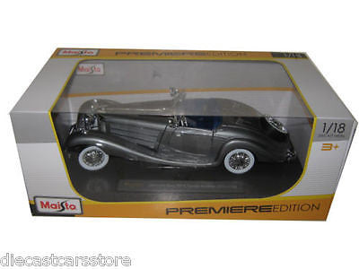 1936 Mercedes 500k Special Roadster Grey 1/18 Diecast Model Car By Maisto 36862
