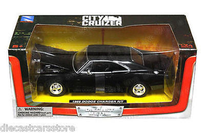 New Ray City Cruizer 1969 Dodge Charger R/T Black 1/24 Diecast Car Ss-71895bk