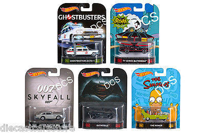 Hot Wheels Retro Entertainment 2016 Assortment A Set Of 5 1/64 Dmc55-959a