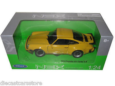 Welly 1974 Porsche 911 Turbo 3.0 Yellow 1/24 Diecast Model Car 24043