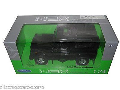Welley Land Rover Range Defender Black 1/24 New In Box Diecast Car 22498