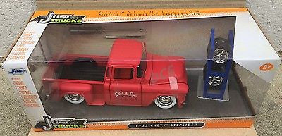 Jada Just Trucks 1955 Chevy Stepside Extra Wheels Matt Red 1/24 Diecast 54027-W5