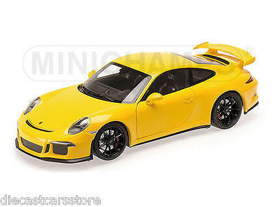 2013 Porsche 911 Gt3 (991) Yellow With Black Wheels 1/18 By Minichamps 110062721