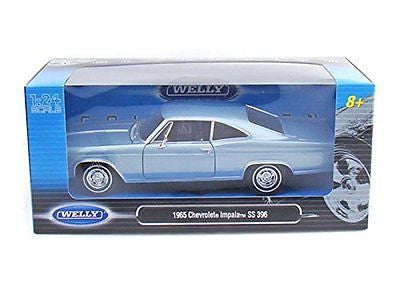 Welly 1965 Chevrolet Impala Ss 396 Light Blue 1/24 Diecast Model Car 22417