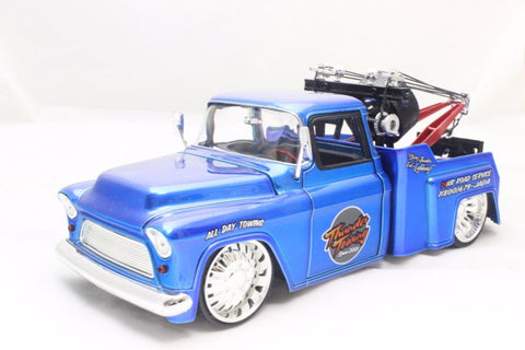 Jada 1955 Chevy Stepside Tow Truck Blue 1/24 Diecast New Without Box