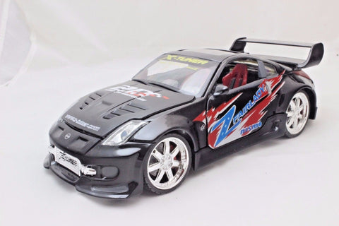 X-Tuner Nissan Fairlady 350z Black With Neon Lights 1/24 Diecast New Without Box
