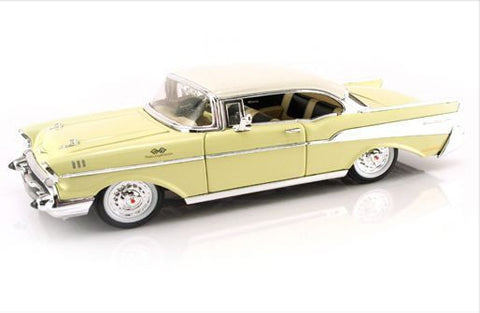 Jada 1957 Chevy Bel Air Yellow/Beige Hard Top 1/24 Diecast Car New In Box / Rare