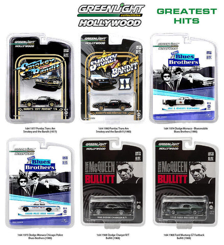 Greenlight Hollywood Series Greatest Hits, Set Of 6 Cars 1/64 Diecast 44711