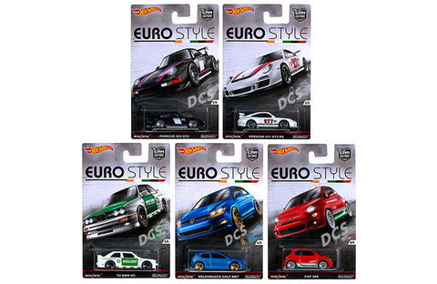 Hot Wheels 1:64 Car Culture Euro Style Case Of 10 Bmw Vw Porsche Fiat Djf77-956b