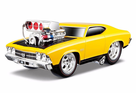 Maisto Muscle Machines 1969 Dodge Chevy Chevelle Ss Yellow 1/24 New Without Box