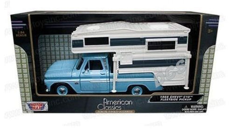 1966 Chevrolet C10 Fleetside Truck W/Camper Light Blue 1/24 Motormax 75355