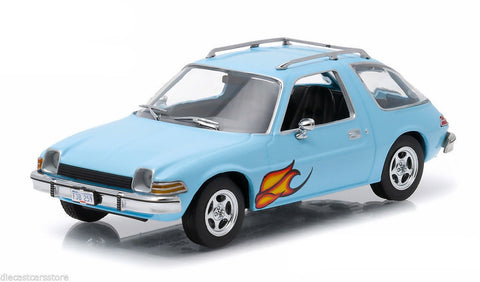 1977 Amc Pacer Light Blue W/ Flames 1/43 Diecast By Greenlight Exclusive 86306