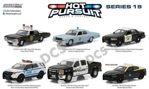 Greenlight Hot Pursuit Series 19, Set Of 6 Cars 1/64 Ford,Dodge Diecast 42760