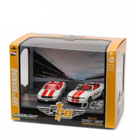 1969 & 2011 Chevrolet Camaro Indianapolis 500 Pace Cars 1/64 Greenlight 29871