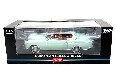 Sunstar 1958 Mercedes 220se Open Convertible Green 1/18 Diecast Car