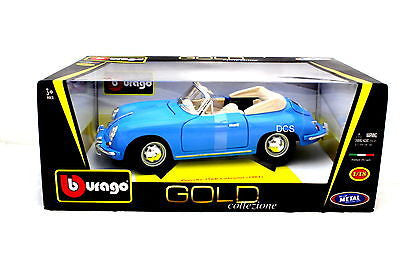 1961 Porsche 356b Cabriolet Blue Made By Bburago 1/18 Diecast Car