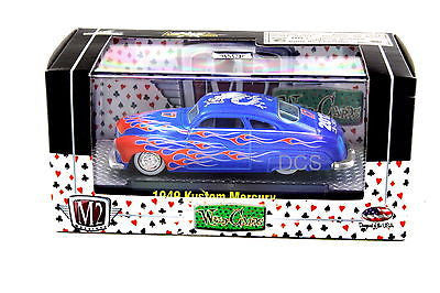 M2 Machines 1949 Kustom Mercury Blue Wild Cards 1/64 Diecast Car