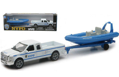 New R Nypd Ford F-250 Pickup & Inflatable Boat Set 1/43