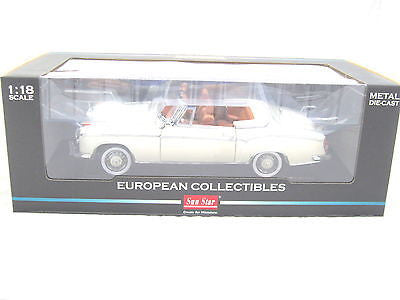 Sunstar 1958 Mercedes 220se Open Convertible White 1/18 Diecast Car Sunstar 3555