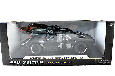 1966 Ford Gt-40 Gt40 Mk 2 Matt Black 1/18 By Shelby Collectibles Diecast Sc412