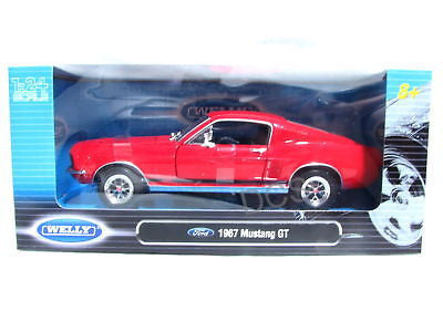 Welly 1967 Ford Mustang Gt Red 1/24 Diecast Car