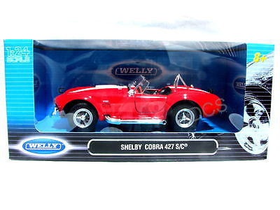 Welly Shelby Cobra Red / White Diecast Car 1/24 Diecast Car New