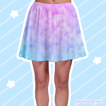 Dreamy Clouds Mini Skater Skirt