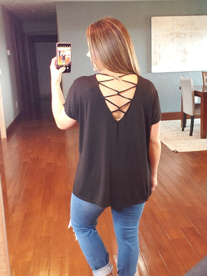 Unwind Cross Back Top - Black