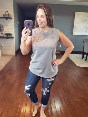 Distress Love Top - Grey