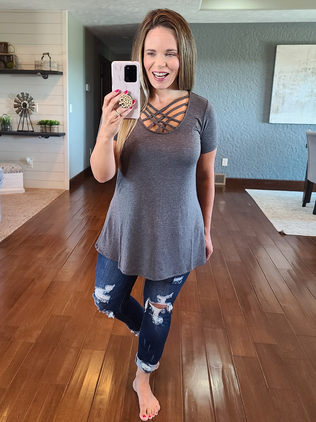 Everyday Criss Cross Top - Charcoal