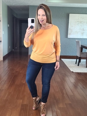 Stevie Side Ruched Top - Mustard